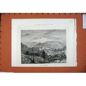 1886 View Baden Switzerland Mountains Buildings Art