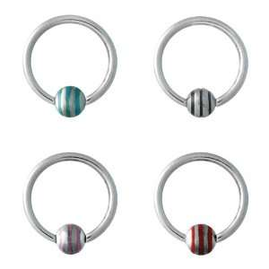 316L Surgical Steel Captive Bead Rings with Blue Strips   14G   1/2