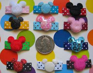 NEW BABY GIRL HAIR BOW SNAP CLIP MICKEY MOUSE U PICK 1