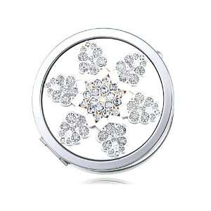 Intricate First Winter Snowflake Czech Crystal Makeup Mirror Beauty
