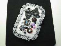 3D Fancy Cute Cream Lace Bling Cake Case for iPhone 4 4S Black or