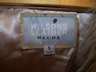 WILSONS LEATHER MAXIMA FAUX FUR TRIMMED COAT JACKET SMALL PAINTED