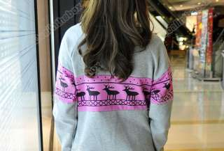 Women Korea Fashion Deer Printing Cotton Jacket Long Sweatshirt Top