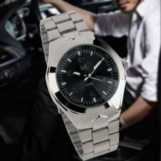 New Wrist Quartz Mens Black Dial Stainless Steel Watch