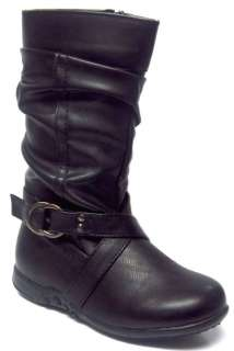 Kay Girls Faux Leather 1 Buckle Slouch Dress Boot BLACK