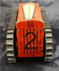 Vintage 1930s Tin Marx Tractor Toy Works Has Winder Key
