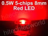 20p 5mm 0.5W 6 Chips White Flux LED LAMP LIGHT 55Kmcd