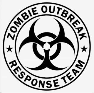 Large ZOMBIE OUTBREAK RESPONSE TEAM Bio Hazard Decal 14 Sticker car