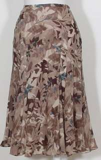 NWT ANNE KLEIN NY Ivory Brown Wool Gauze Floral Skirt 16