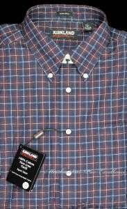 KIRKLAND Mens 100% Cotton SHIRT non IRON Burgundy Blue Check NEW Size