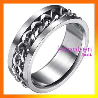 Fashion Mens womens Stainless Steel Silver Band Chain Ring  8CM