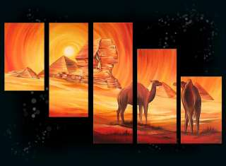 Large Modern Art Oil Painting Egypt camels Canvas Art