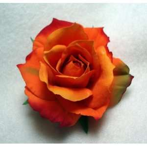 Orange Rose Real Touch Flower Hair Clip and Pin Large QTY