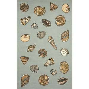 Hand Tufted Area Rug Seashell 8 Round Aqua Carpet Furniture & Decor