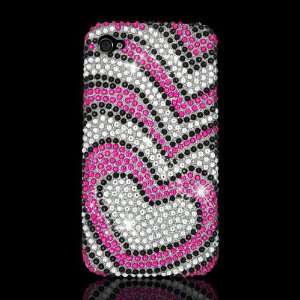 CDMA /4S Full Diamond Case Hot Pink Silver Hearts Cell Phones