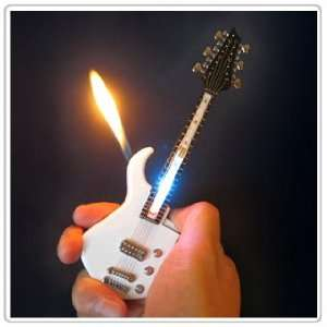Mini White Guitar LED Light Refillable Cigar Cigarette Lighter 7inch