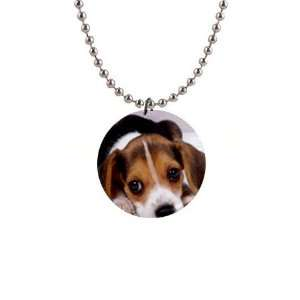 Beagle Puppy Dog Button Necklace B0028