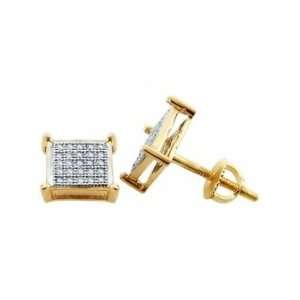 (.15 Ctw) 10k Yellow Gold Diamond Earring Studs
