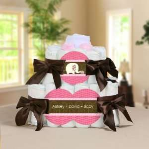 Pink Baby Elephant Personalized Square   2 Tier Diaper Cake   Baby