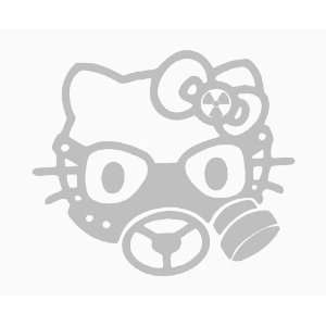 HELLO KITTY GAS MASK   6 LIGHT GREY   Vinyl Decal Sticker