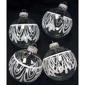 Set of 4 Clear Glass Ball Christmas Ornaments With White