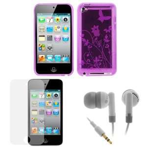 GTMax Butterfly Purple Gel Cover Case + LCD Screen Protector