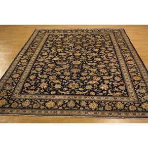 90 x 124 Navy Blue Persian Hand Knotted Wool Kashan Rug