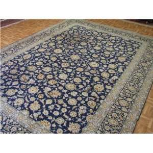 89 x 122 Navy Blue Persian Hand Knotted Wool Kashan Rug