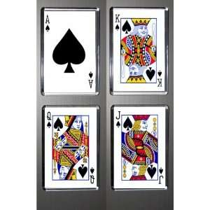 Boxed Set of 4 Fridge Magnets Playing Cards Spades