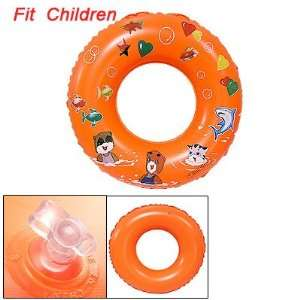 Child Cat Star Print Orange Inflatable Swimming Ring Toys & Games