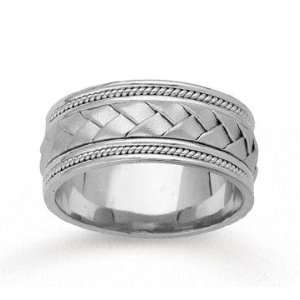 14k White Gold Great Weave Hand Carved Wedding Band Jewelry