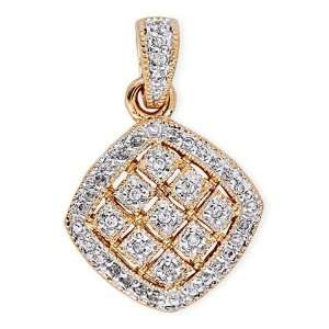 Diamond Two Tone Square Pendant (Nice Mothers Day Gift, Special Sale
