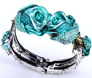 Blue crystal rose flower cuff bracelet 39;matching ring brooch