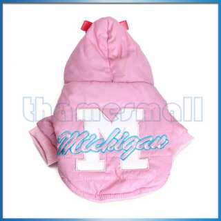Pet Dog Hoodie Hooded Winter Coat Clothing Apparel w/ Bow on the Hood