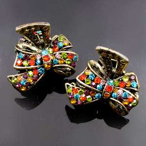 SHIPPING 2 antiqued rhinestone crystal bow tie hair claw clip