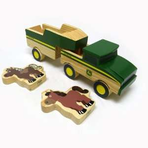 John Deere Wooden Truck & Trailer Set Toys & Games