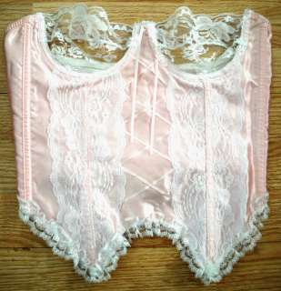 Fredericks of Hollywood Sexy Pink White Lace Corset Bustier Top Size